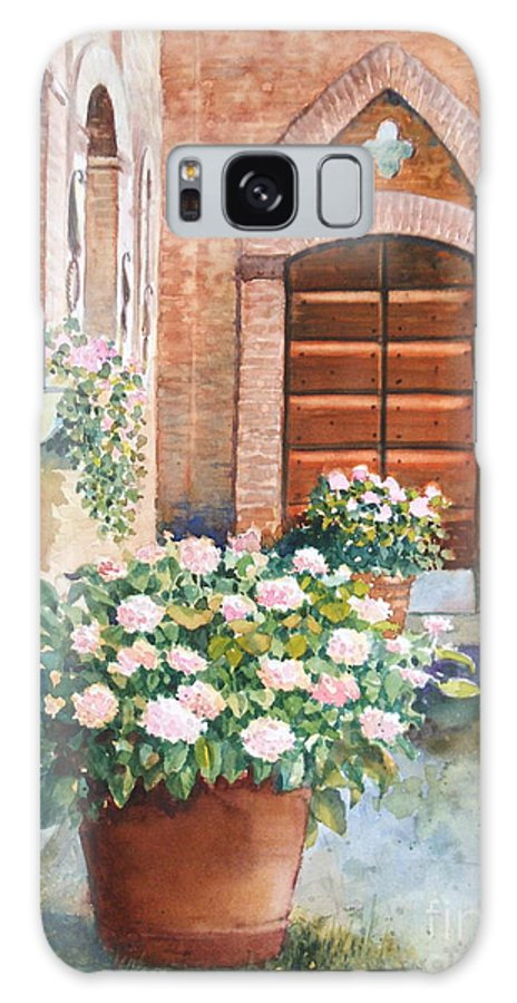Tuscan Galaxy S8 Case featuring the painting Tuscan Courtyard by Ann Cockerill