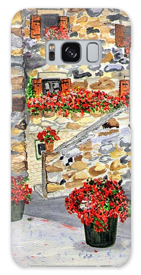 Tuscan Courtyard Galaxy S8 Case featuring the painting Tuscan Courtyard I by Arlene Wright-Correll