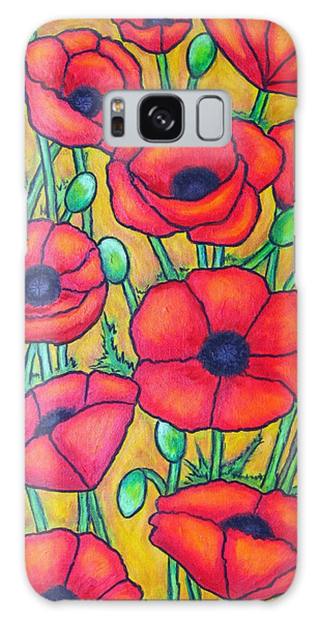 Poppies Galaxy S8 Case featuring the painting Tuscan Poppies - Crop 1 by Lisa Lorenz