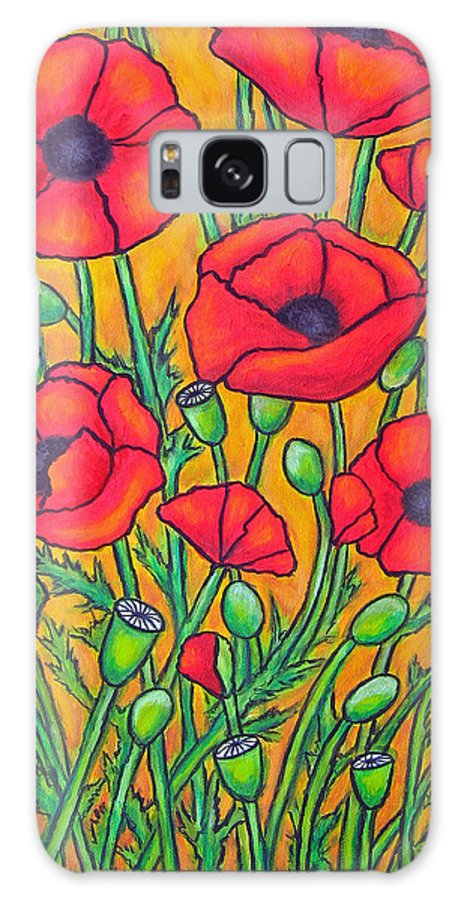 Poppies Galaxy S8 Case featuring the painting Tuscan Poppies - Crop 2 by Lisa Lorenz