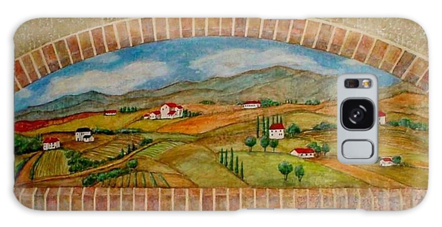 Mural Galaxy S8 Case featuring the painting Tuscan Scene Brick Window by Anita Burgermeister