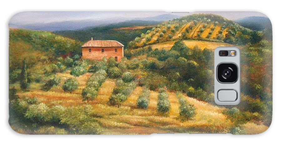 Landscape Galaxy S8 Case featuring the painting Tuscan Summer by Ann Cockerill