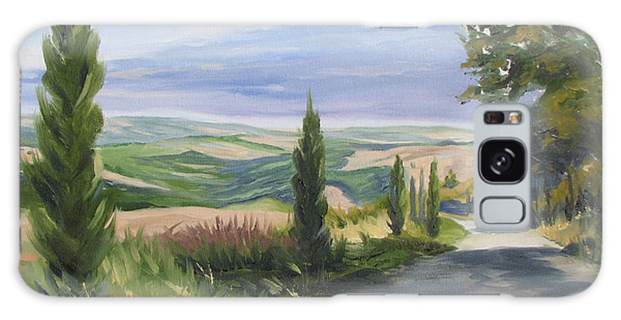 Landscape Galaxy S8 Case featuring the painting Tuscan Walk by Jay Johnson