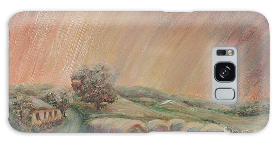 Landscape Galaxy S8 Case featuring the painting Tuscany Hayfields by Nadine Rippelmeyer
