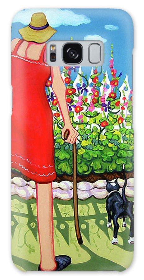 Rebecca Korpita Galaxy S8 Case featuring the painting Tuxedo Cat - Edens Garden by Rebecca Korpita