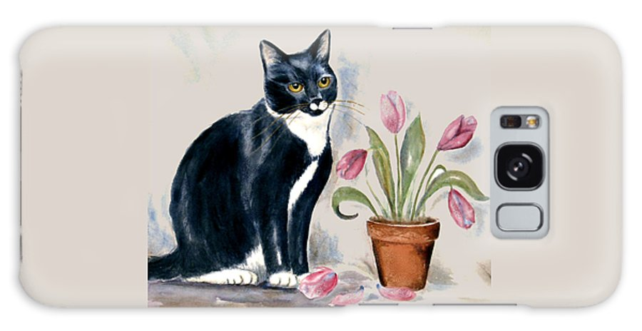 Cat Galaxy Case featuring the painting Tuxedo Cat Sitting By The Pink Tulips by Frances Gillotti