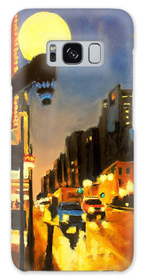 Rob Reeves Galaxy Case featuring the painting Twilight In Chicago - The Watcher by Robert Reeves