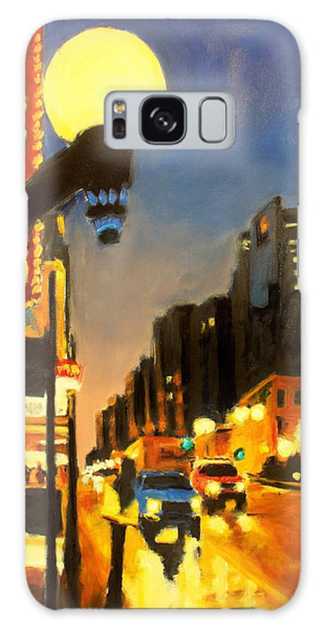 Rob Reeves Galaxy S8 Case featuring the painting Twilight In Chicago - The Watcher by Robert Reeves