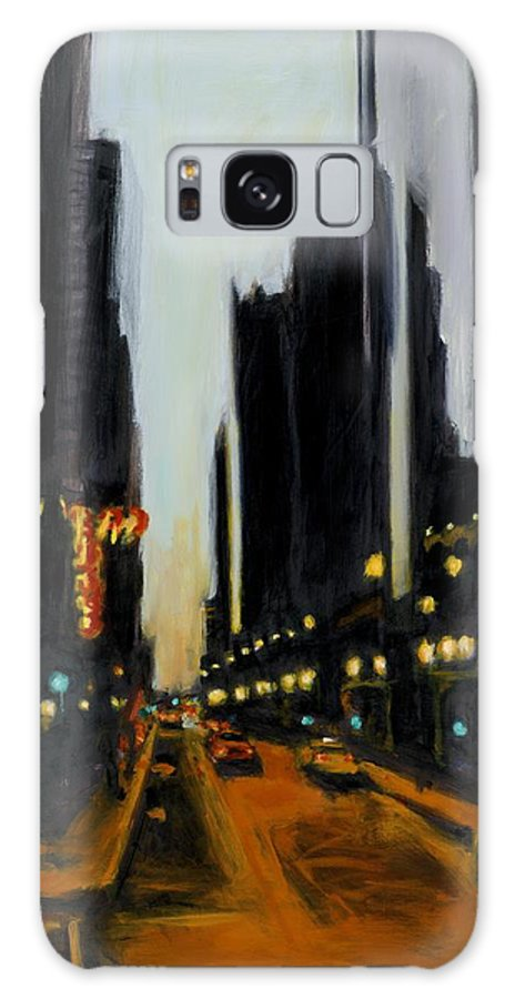 Rob Reeves Galaxy Case featuring the painting Twilight In Chicago by Robert Reeves