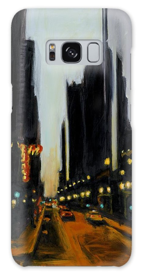 Rob Reeves Galaxy S8 Case featuring the painting Twilight In Chicago by Robert Reeves