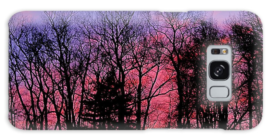 Twilight Trees Forest Sunsets Silhouette Nature Prints Natural Landscapes Skyscapes Colorful Skies Pink And Purple Clouds Galaxy S8 Case featuring the photograph Twilight Trees by Joshua Bales