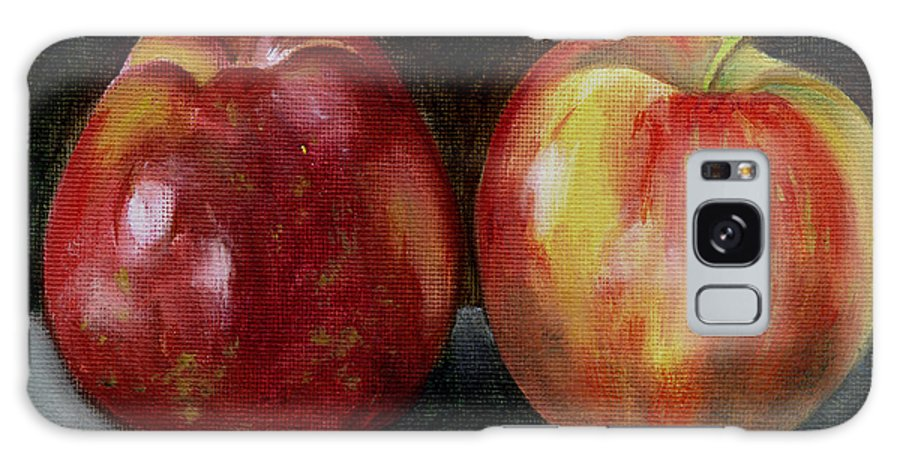 Oil Galaxy Case featuring the painting Two Apples by Sarah Lynch