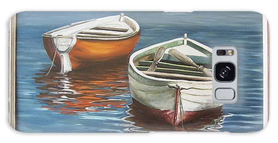 Boats Reflection Seascape Water Boat Sea Ocean Galaxy Case featuring the painting Two Boats by Natalia Tejera