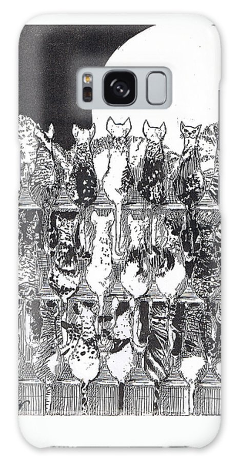 Cats Galaxy S8 Case featuring the drawing Two Dozen And One Cats by Seth Weaver