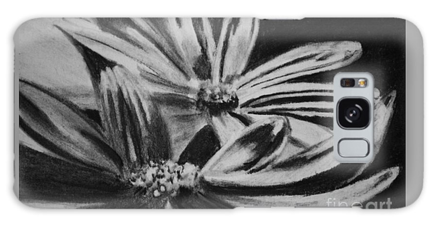 Flowers Galaxy Case featuring the drawing Two Flowers by Regan J Smith