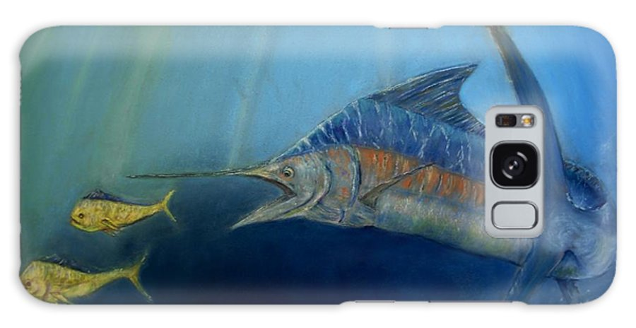 Marine Wildlife Galaxy Case featuring the pastel Two For Lunch by Ceci Watson