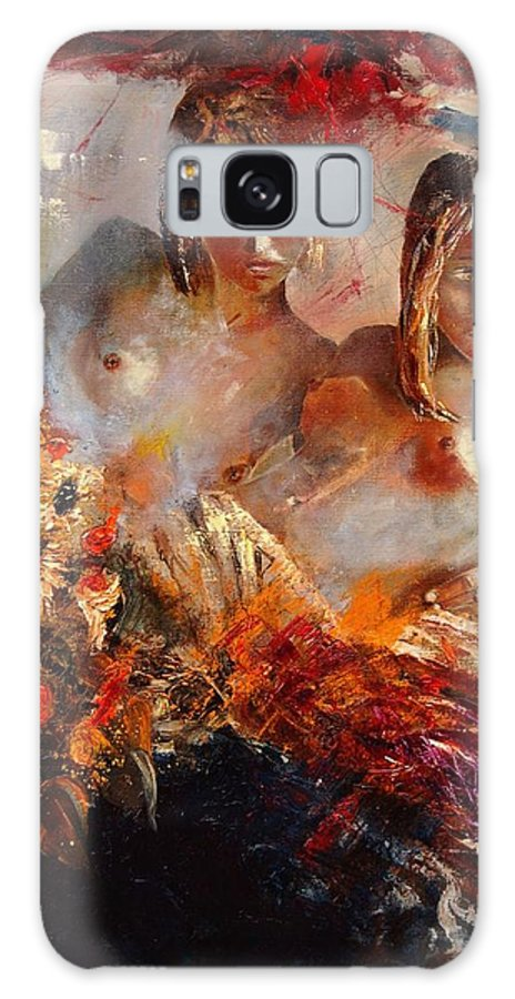 Girl Nude Galaxy Case featuring the painting Two Friends by Pol Ledent