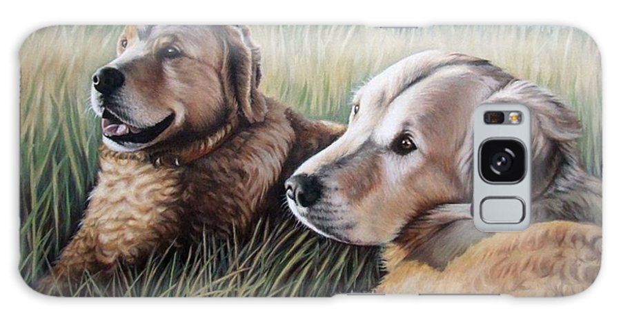 Dogs Galaxy Case featuring the painting Two Golden Retriever by Nicole Zeug