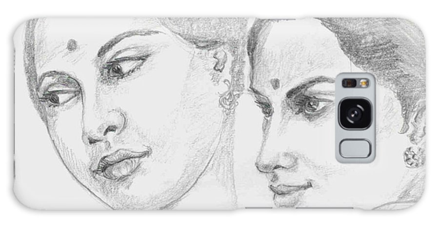 Sketch Of Indian Women Galaxy S8 Case featuring the drawing Two Indian Women by Asha Sudhaker Shenoy