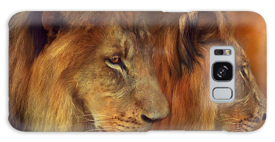 Carol Cavalaris Galaxy S8 Case featuring the mixed media Two Lions by Carol Cavalaris