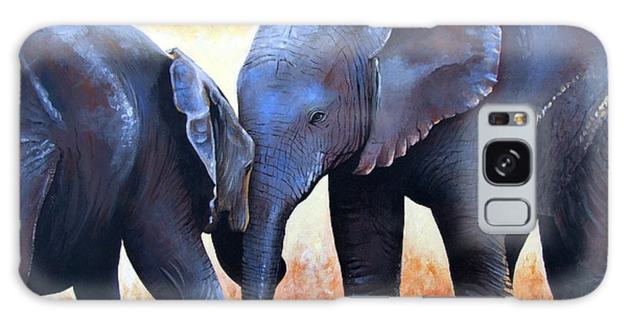 Elephants Galaxy Case featuring the painting Two Little Elephants by Paul Dene Marlor