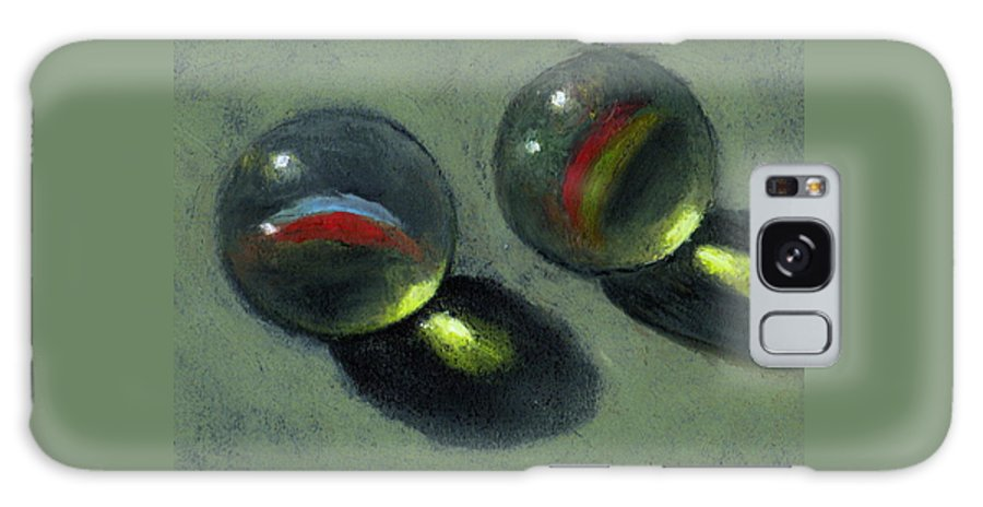 Marbles Galaxy Case featuring the pastel Two Marbles In Pastel by Joyce Geleynse