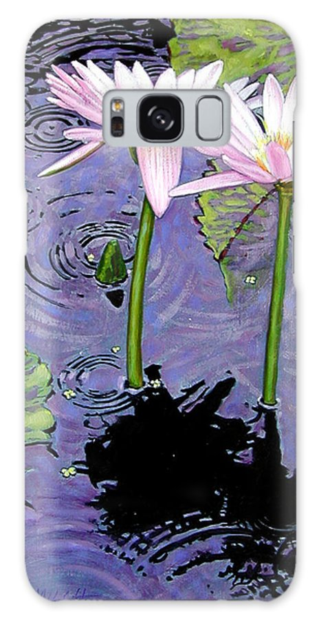Pink Water Lilies Galaxy S8 Case featuring the painting Two Pink Lilies In The Rain by John Lautermilch
