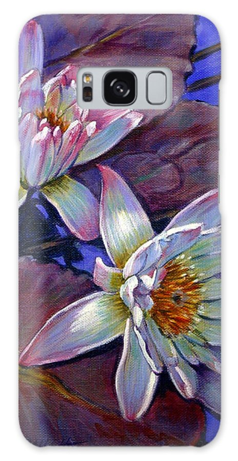 Water Lilies Galaxy S8 Case featuring the painting Two Pink Water Lilies by John Lautermilch