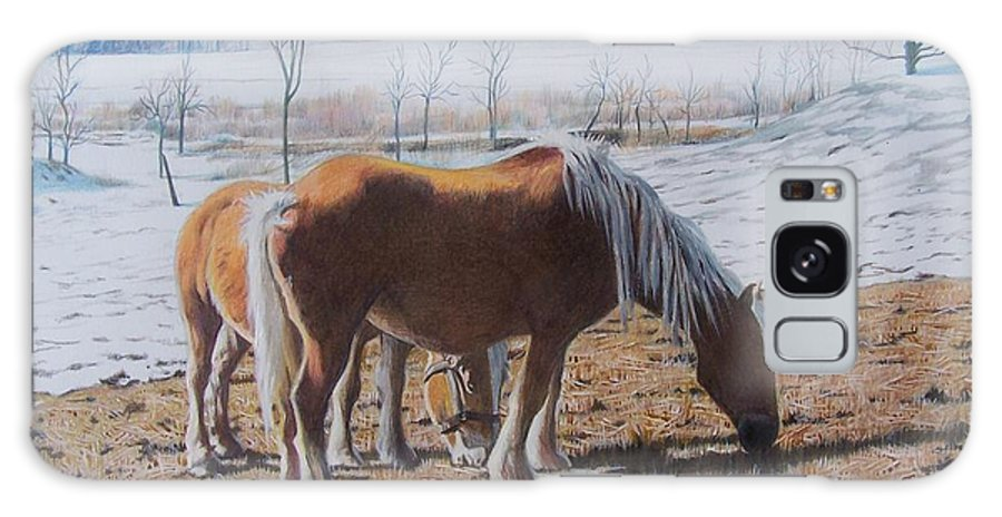 Horses Galaxy S8 Case featuring the mixed media Two Ponies In The Snow by Constance Drescher