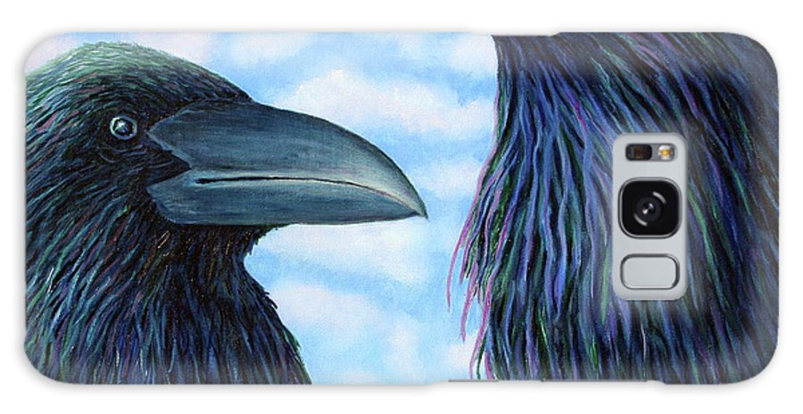 Raven Galaxy Case featuring the painting Two Ravens by Brian Commerford