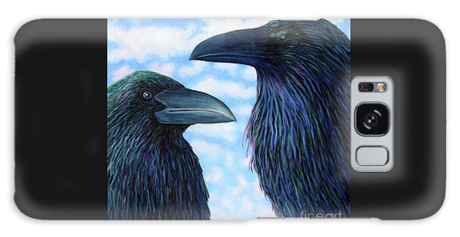 Raven Galaxy S8 Case featuring the painting Two Ravens by Brian Commerford