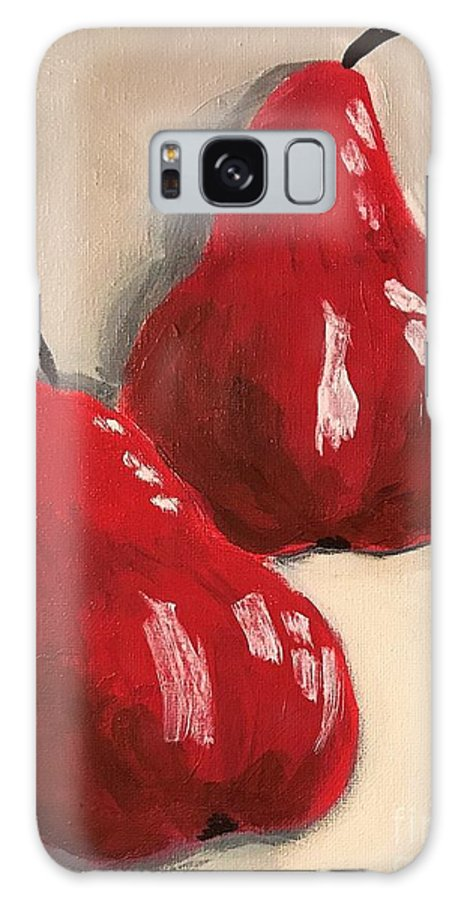 Pears Galaxy S8 Case featuring the painting Two Red Pears by Kate Speer Ely