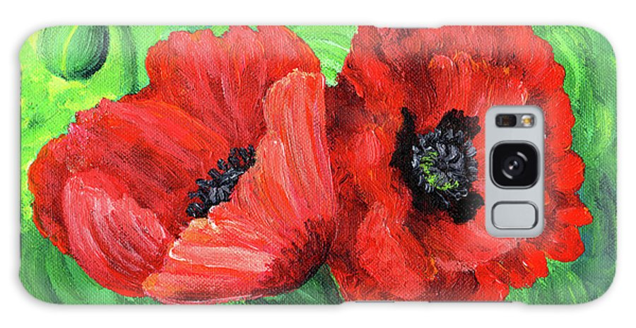 Red Galaxy S8 Case featuring the painting Two Red Poppies by Laura Iverson