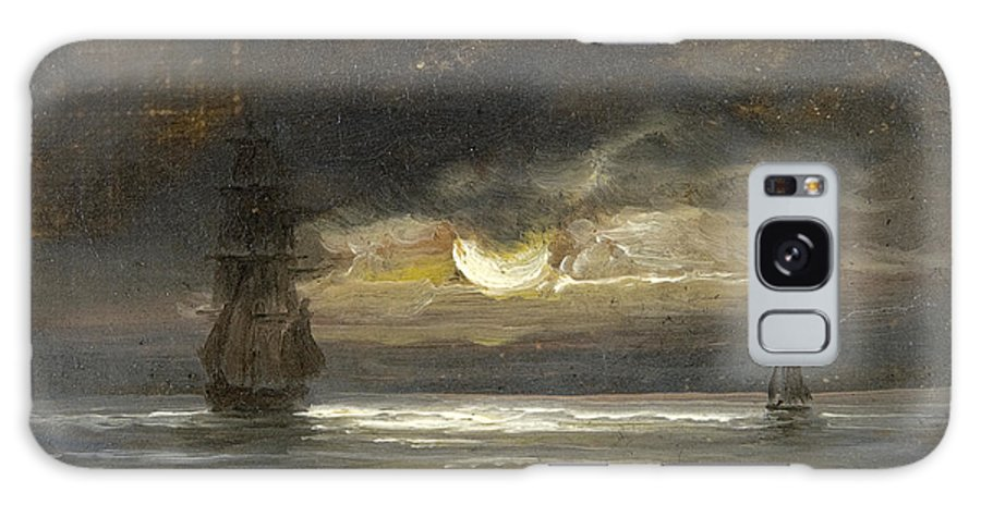 Peder Balke Galaxy S8 Case featuring the painting Two Sailing Boats By Moonlight by Peder Balke