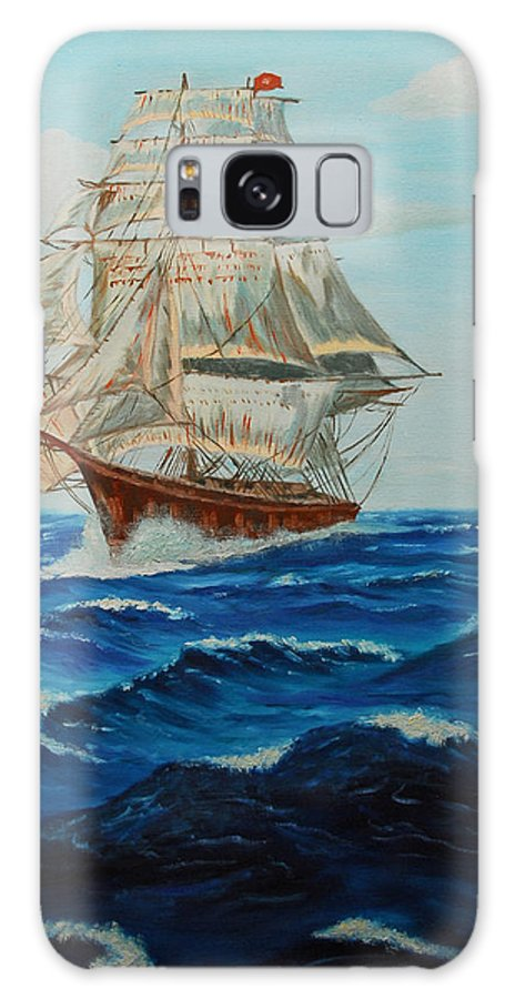 Ship Galaxy S8 Case featuring the painting Two Ships Sailing by Quwatha Valentine