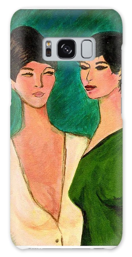 Two Sisters Galaxy S8 Case featuring the painting Two Sisters by Asha Sudhaker Shenoy