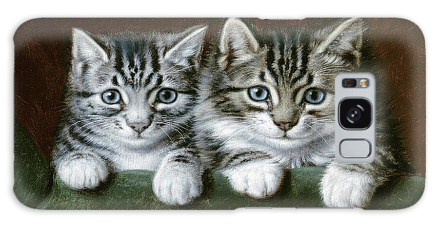 Two Tabby Kittens Galaxy S8 Case featuring the painting Two Tabby Kittens by Horatio Henry Couldery