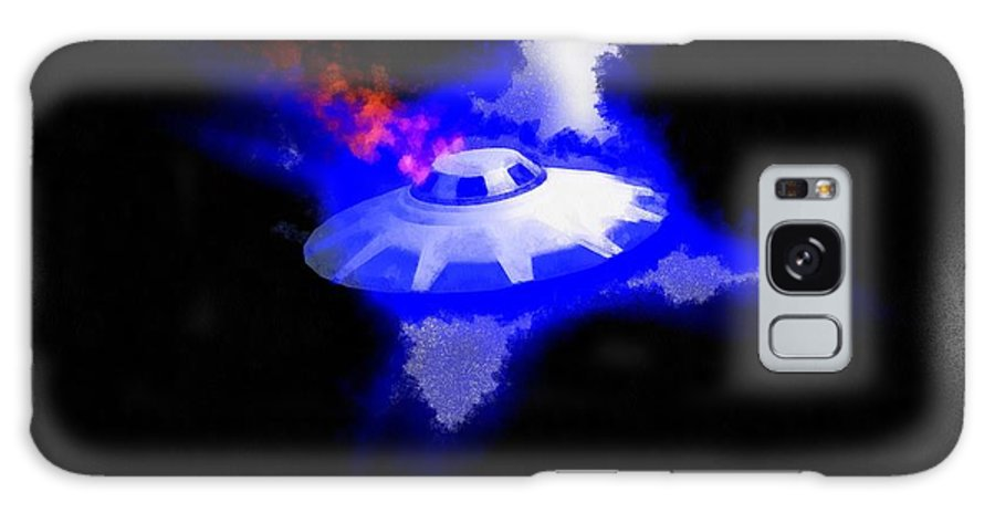 Ufo Galaxy S8 Case featuring the painting Ufo Blue In Flames by Esoterica Art Agency