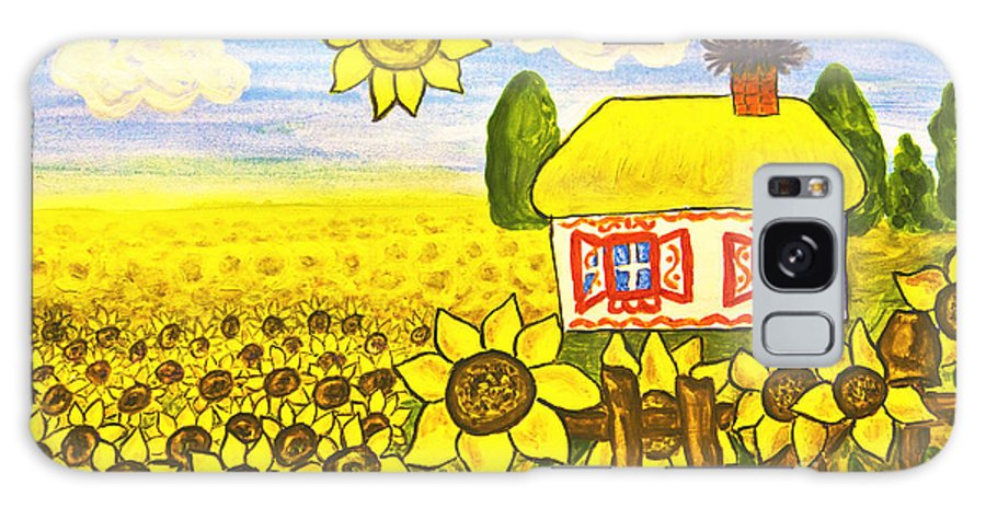 House Galaxy S8 Case featuring the painting Ukrainian House With Sunflowers by Irina Afonskaya