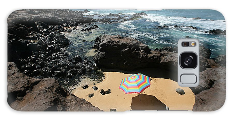 Afternoon Galaxy S8 Case featuring the photograph Umbrella On Beach by Ron Dahlquist - Printscapes