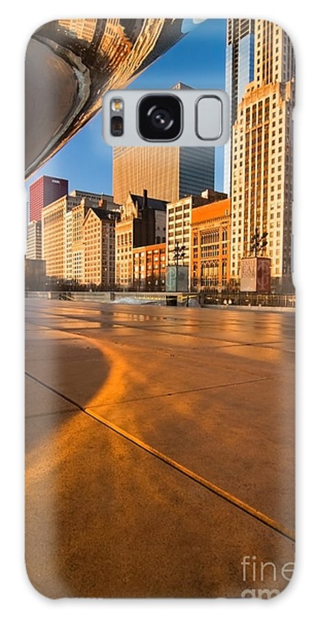 Chicago Galaxy Case featuring the photograph Under The Bean And Chicago Skyline At Sunrise by Sven Brogren