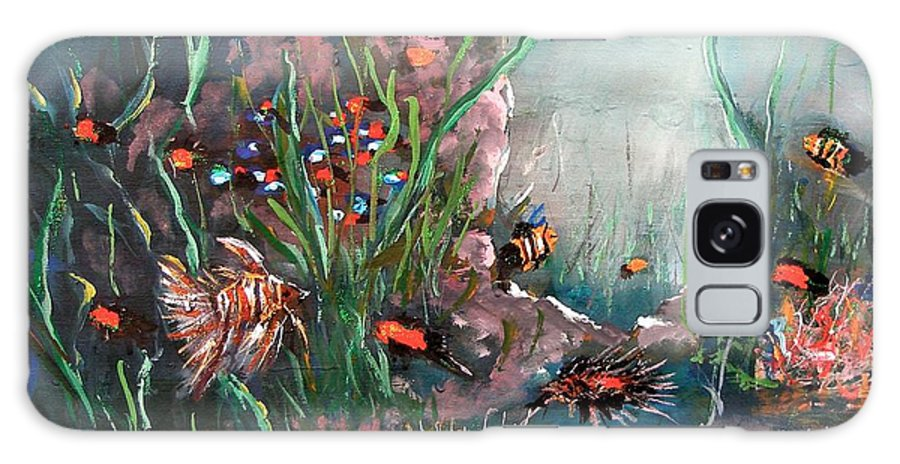 Under The Sea Colors Life Under Ocean Fish Water Cave Weed Swimming Beauty Fish Tank View Red Blue Wave Diving Angel Stone Dark Light Galaxy S8 Case featuring the painting Under The Sea Colors by Miroslaw Chelchowski