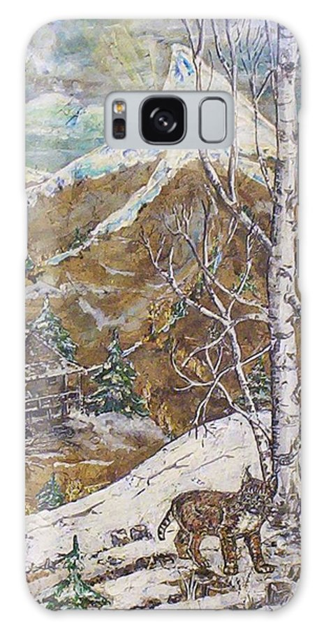 Snow Scene Galaxy Case featuring the painting Unexpected Guest I by Phyllis Mae Richardson Fisher