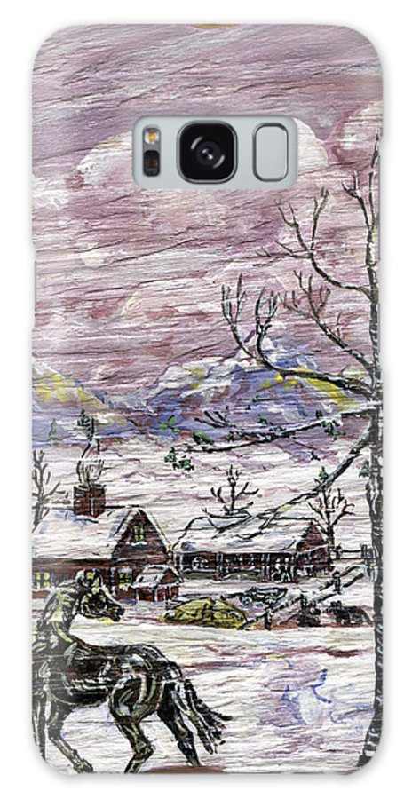 Snow Scene Galaxy S8 Case featuring the painting Unexpected Guest II by Phyllis Mae Richardson Fisher