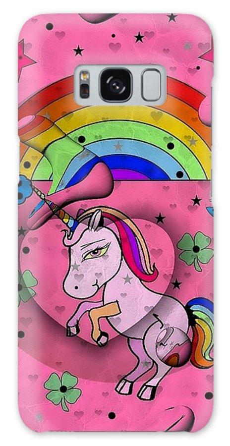 Unicorn Popart By Nico Bielow Galaxy S8 Case featuring the digital art Unicorn Popart By Nico Bielow by Nico Bielow