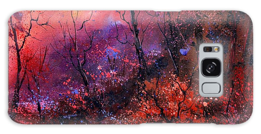 Wood Sunset Tree Galaxy Case featuring the painting Unset In The Wood by Pol Ledent