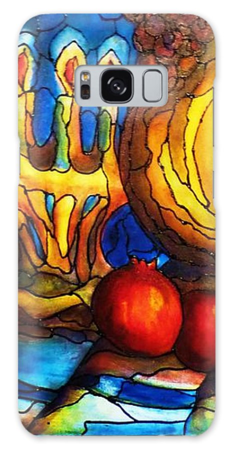 Original Art Galaxy Case featuring the painting Still Life With Grapes And Pomegranates by Rae Chichilnitsky