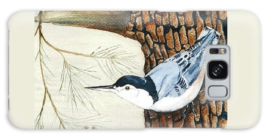 Nuthatch Galaxy S8 Case featuring the painting Upside Down by Debra Sandstrom