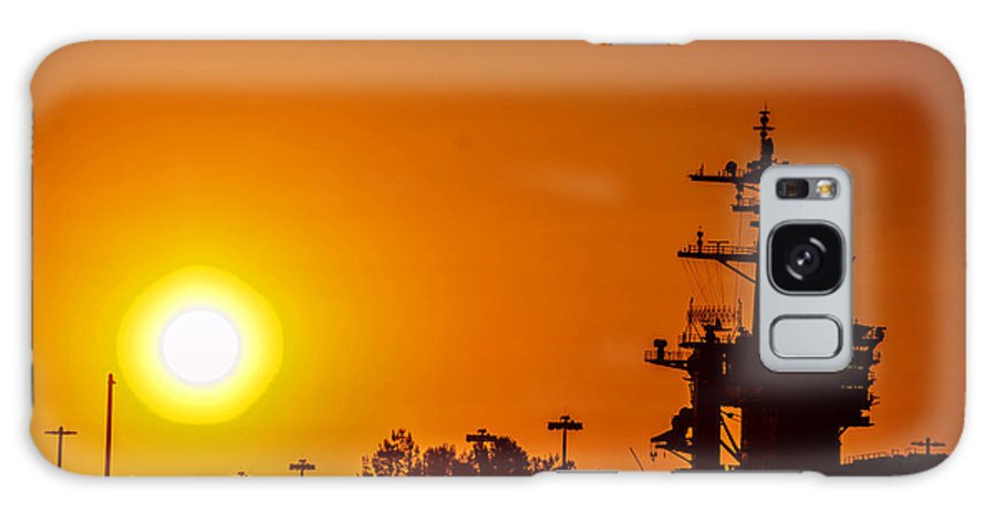 Aircraft Carrier Galaxy S8 Case featuring the photograph Uss Carl Vinson At Sunset 3 by Tommy Anderson