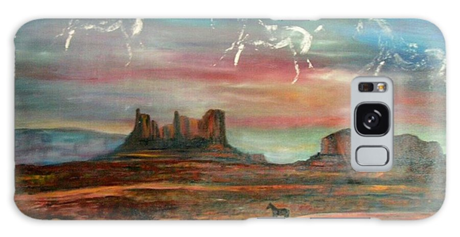 Landscape Galaxy S8 Case featuring the painting Valley of the horses by Darla Joy Johnson
